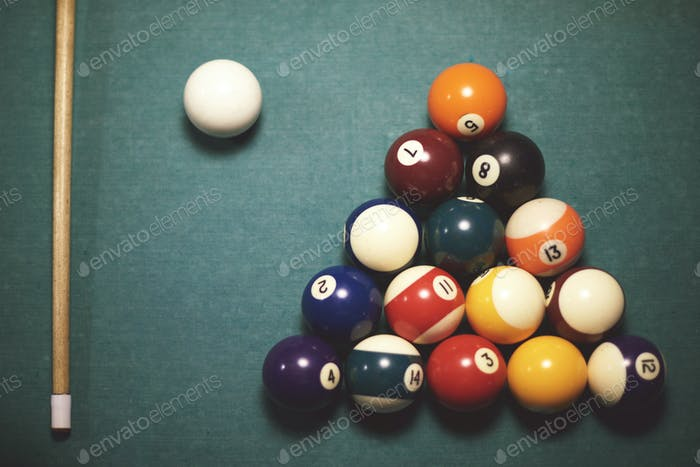 High angle view on pool table