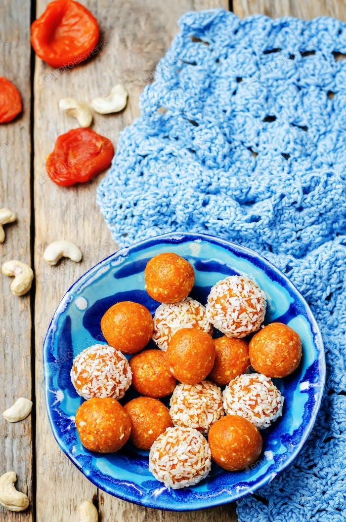 raw vegan cashew dried apricots, coconut balls