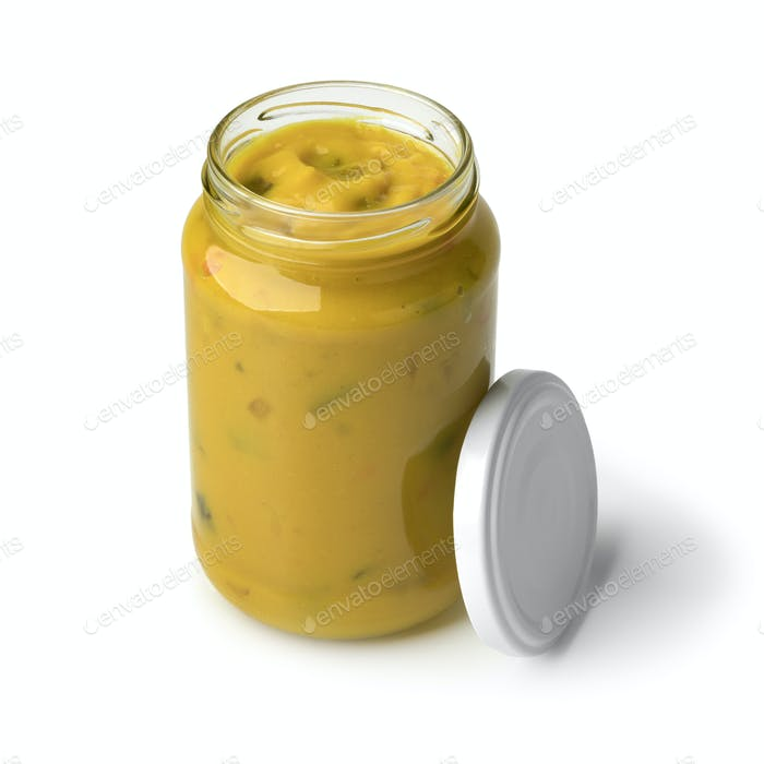 Jar of homemade piccalilli
