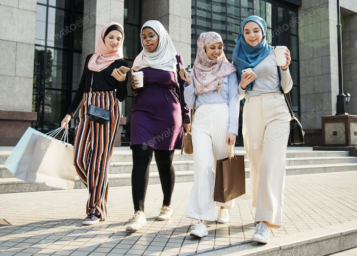 Islamic women friends shopping together on the weekend