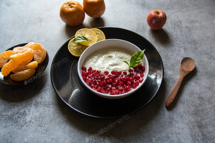 Curd with fruits
