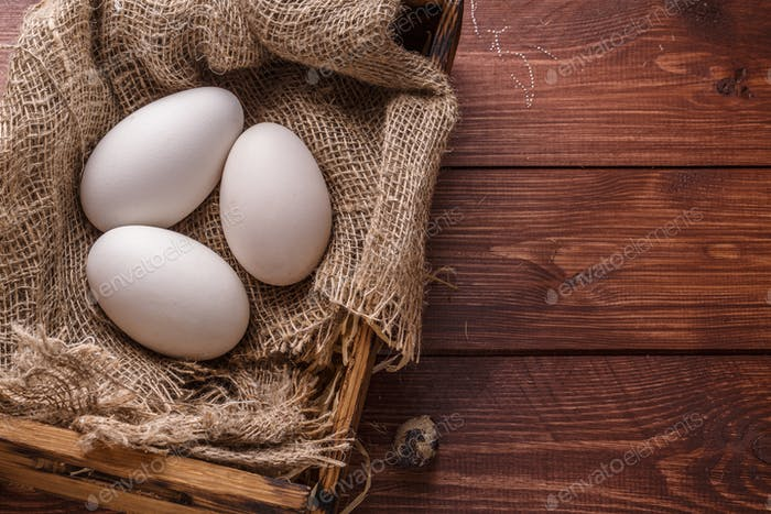 Three big fresh goose eggs in a box, copyspace