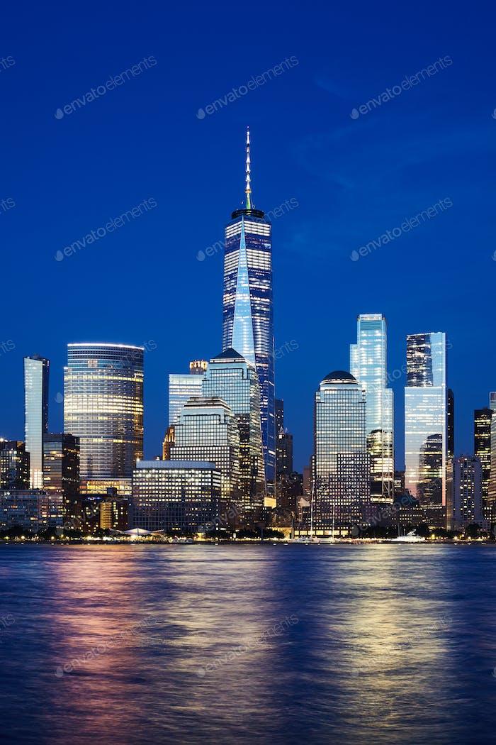 Manhattan skyline at blue hour, New York City.