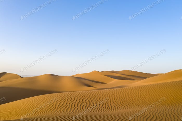 golden sand dunes in sunset, desert landscape,clipping path included