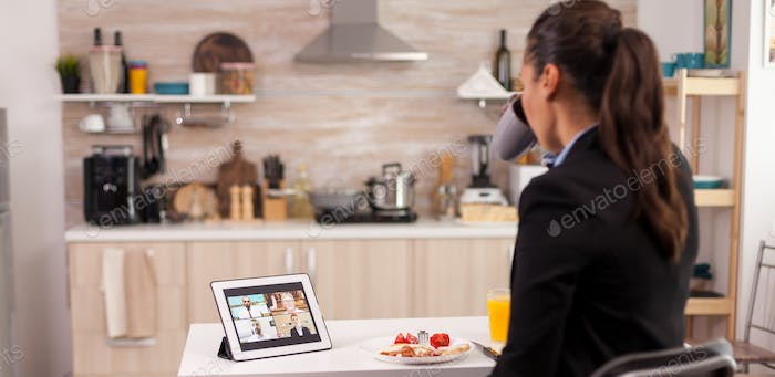 Video conference in kitchen