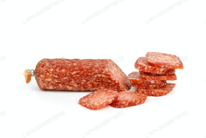 Sliced salami sausage