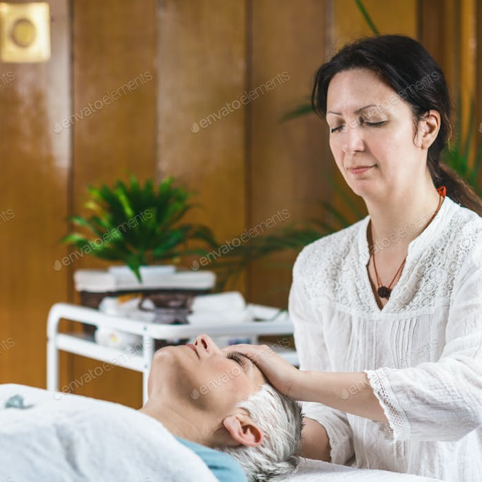 Marma Therapy. Ayurveda Practitioner with Patient