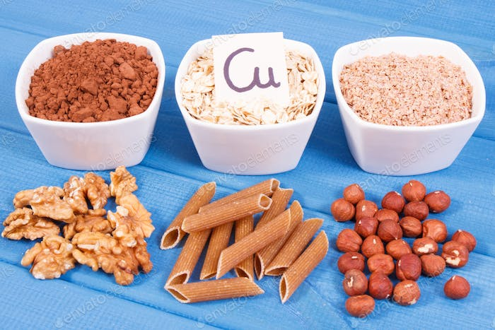 Healthy food containing copper, minerals and dietary fiber, healthy nutrition concept