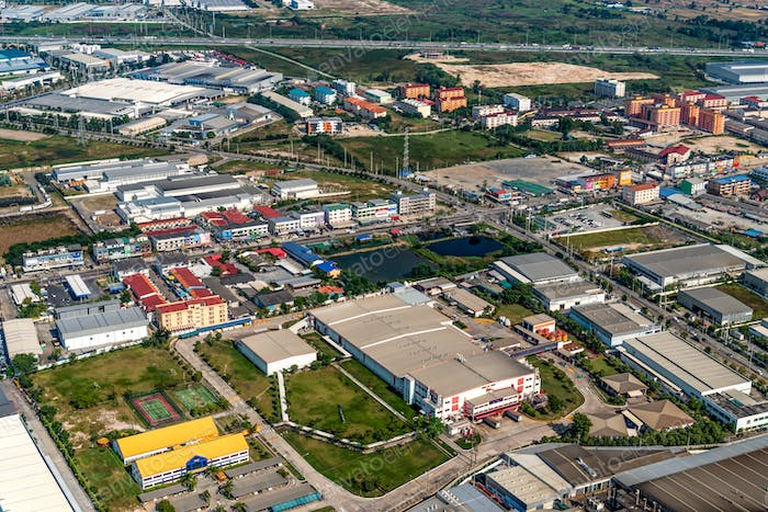 Industrial estate and residential area aerial view