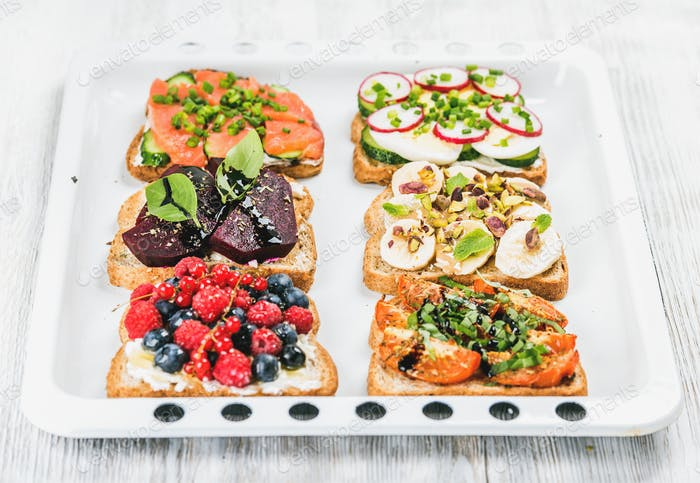 Sweet and savory breakfast toasts variety