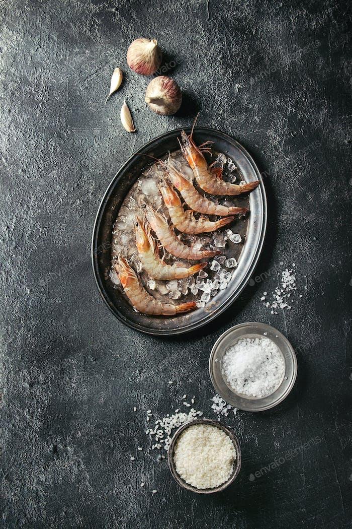 Raw uncooked prawns shrimps