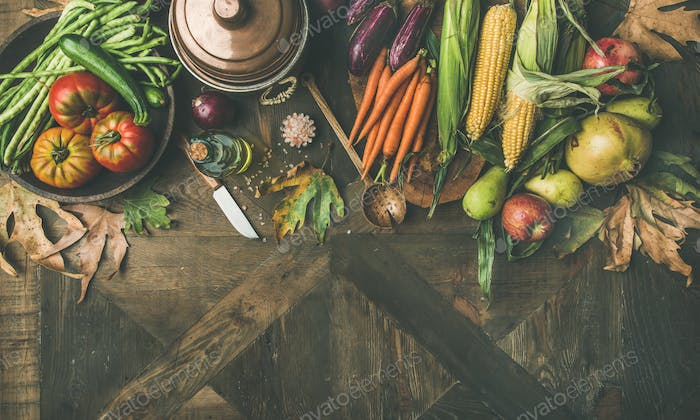 Fall healthy cooking background, copy space, wide composition