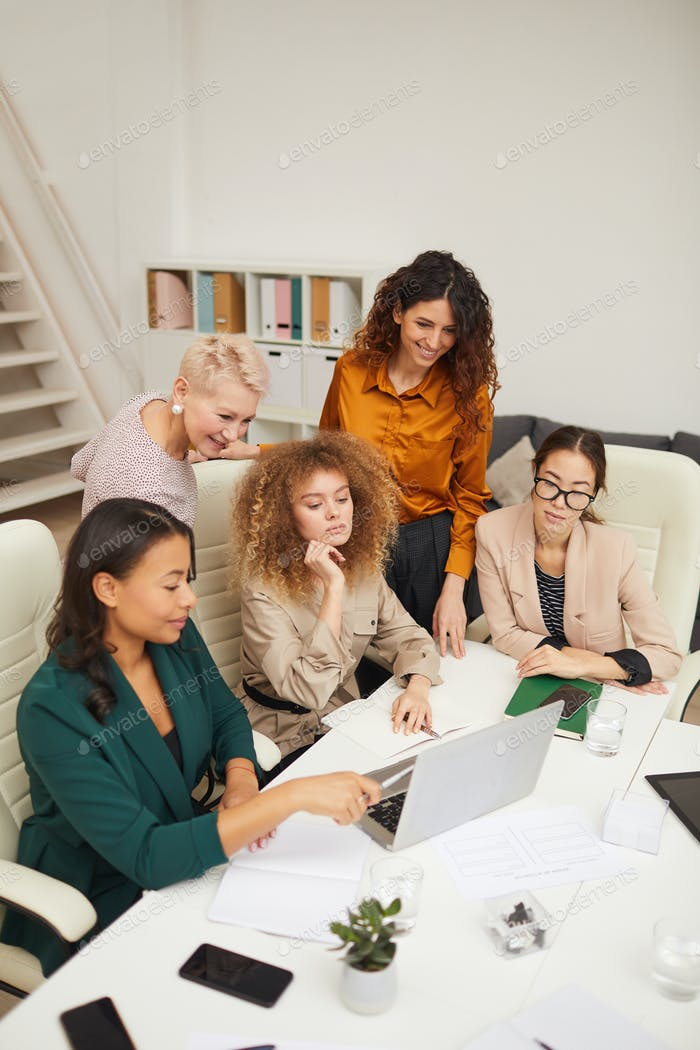 Ethnically Diverse Businesswomen Working