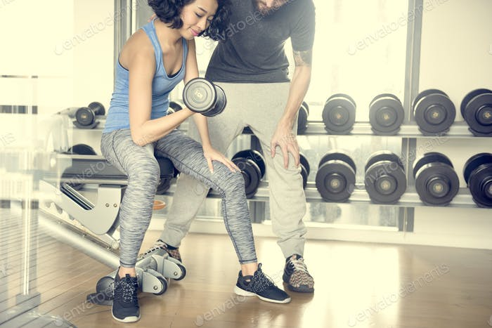Workout Couple Exercise Fitness Sport Gym Concept