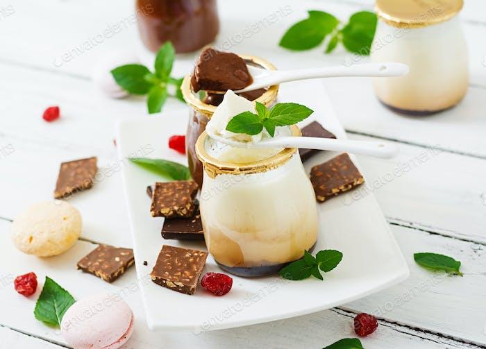 Chocolate and vanilla panna cotta (dessert)