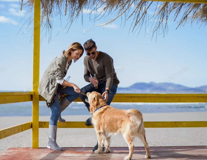 young couple with a dog at the beach