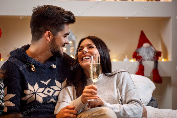 romantic couple toast for Christmas holiday