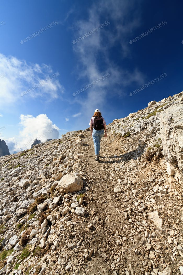 hiker on Dolomites