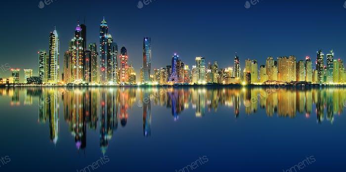 Panorama reflection of Dubai Marina