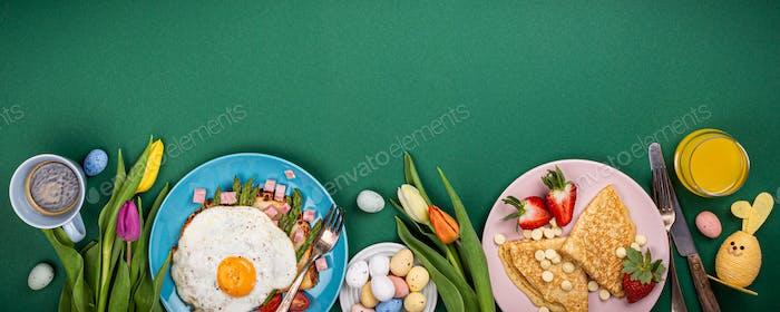 Easter breakfast flat lay