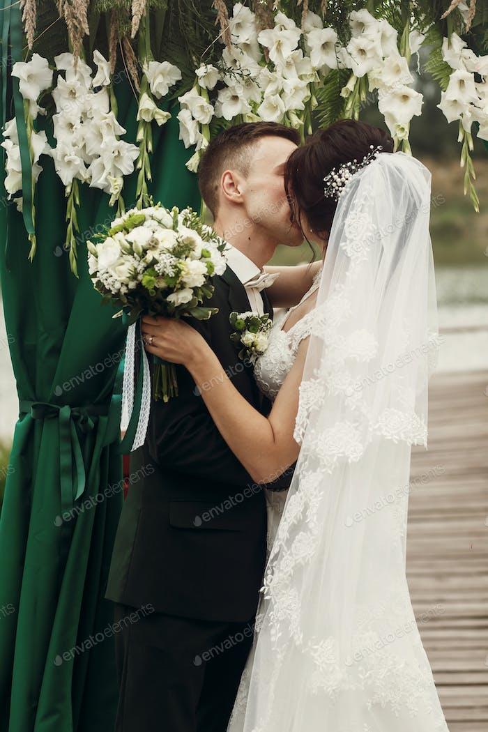 Beautiful couple at wedding ceremony