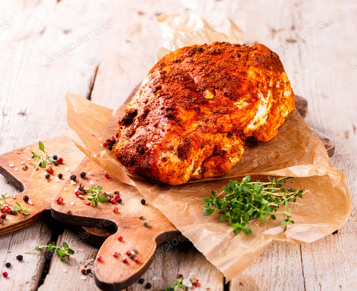 Chicken,turkey pastrami with thyme.Food Concept