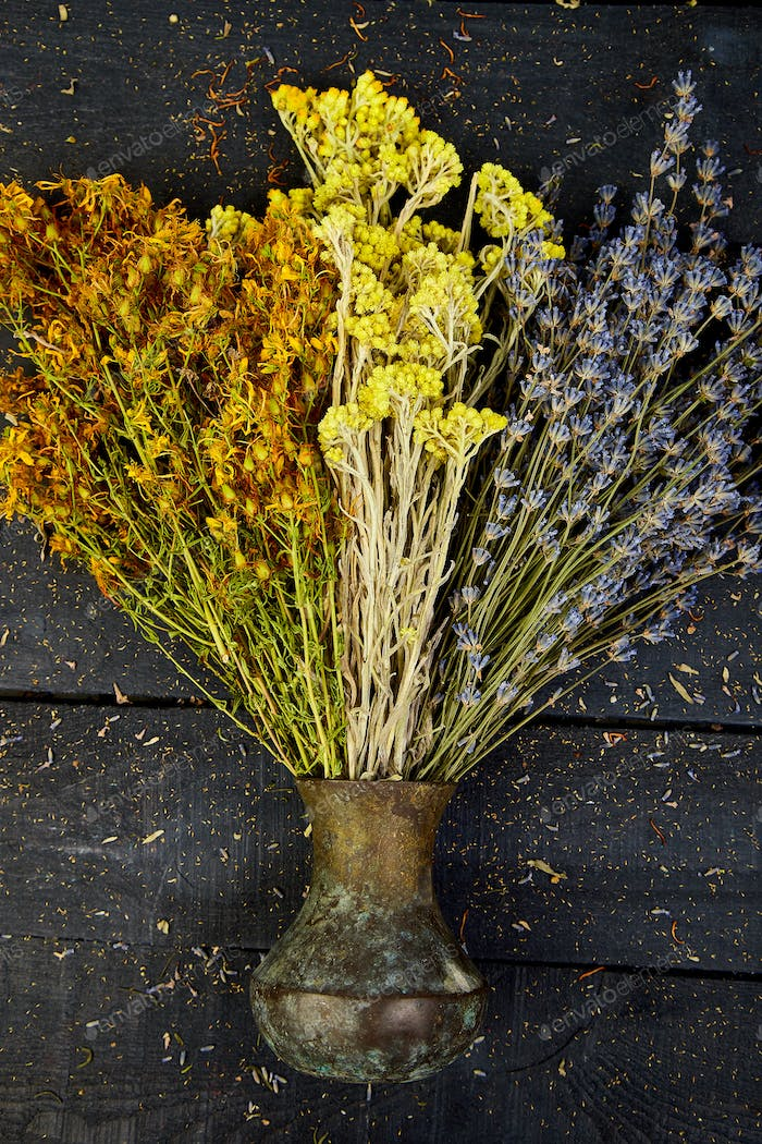 Dry herbs flower in vase. Aromatherapy. Medicinal.