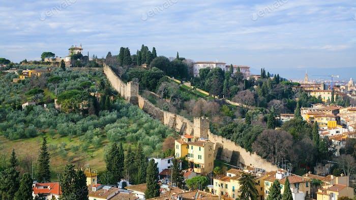 above view of gardens and wall of Giardino Bardini