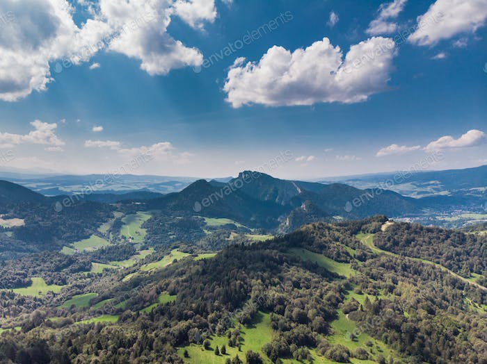 Beautiful Pieniny Mountains in Poland, aerial drone view