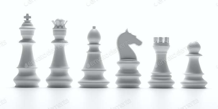 White chess pieces isolated on white background. 3d illustration
