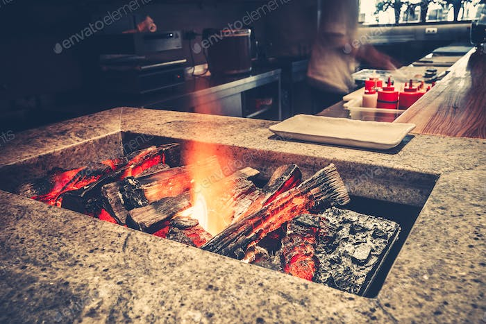 restaurant with fireplace close-up
