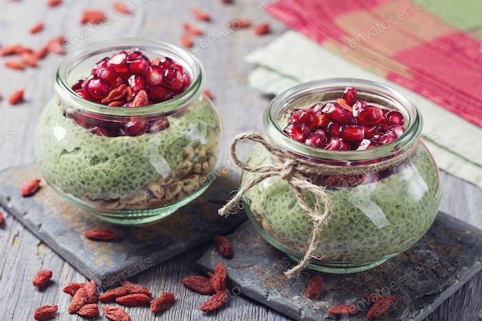 Chia seeds matcha pudding