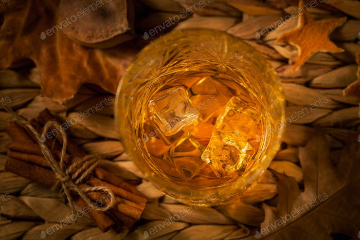 Whisky, brandy or cognac, spices and decorations