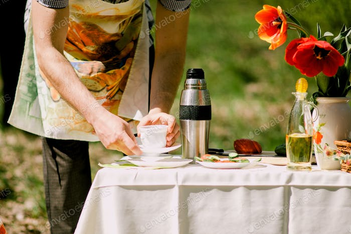 healthy eating picnic with vegetables outdoors