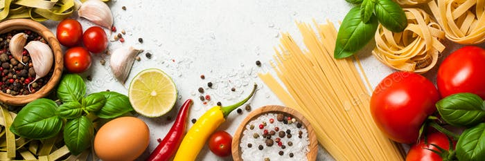 Cooking table with ingredients. Italian cuisine concept