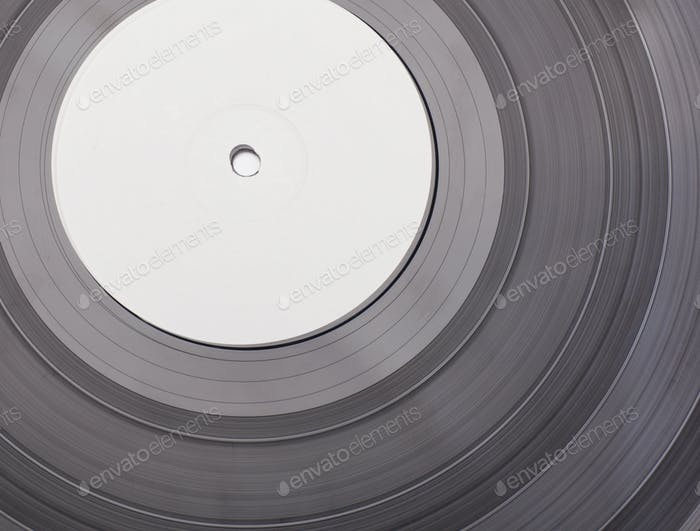 vinyl disc with blank white label