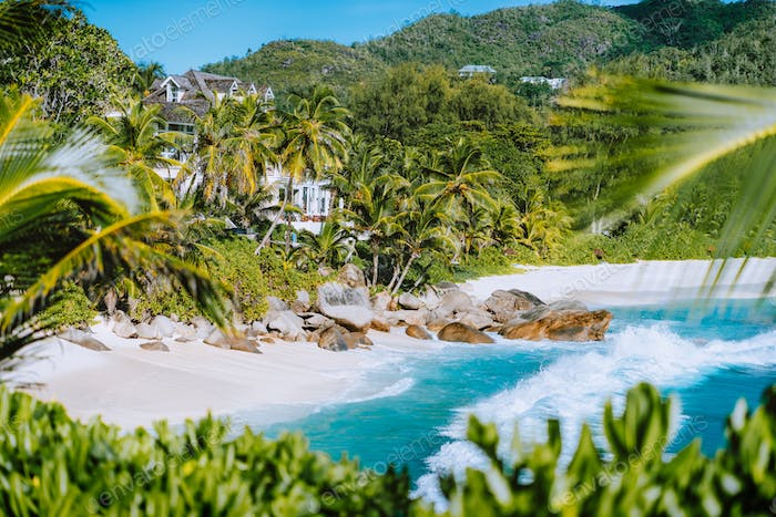 Beautiful exotic beach Anse Intendance at Seychelles, Mahe island. Holiday vacation destination