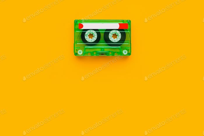 Top view of audio cassette