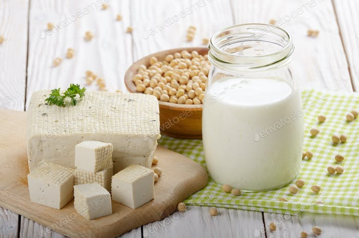 Non-dairy alternatives Soy milk or yogurt in mason jar and tofu