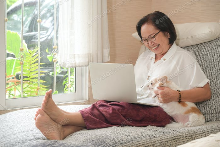 Elderly asian woman sitting on a sofa is using a laptop.She smiled happily.