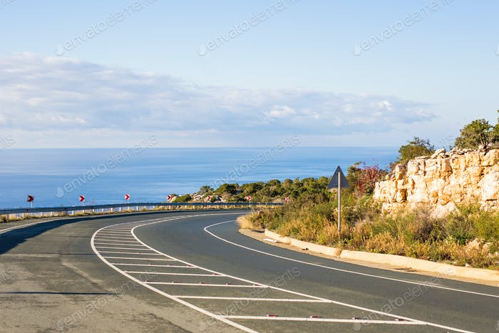 asphalt road and blue sky in summer day