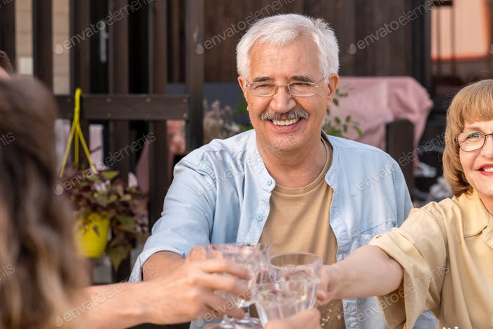 Senior Couple Toasting at Party