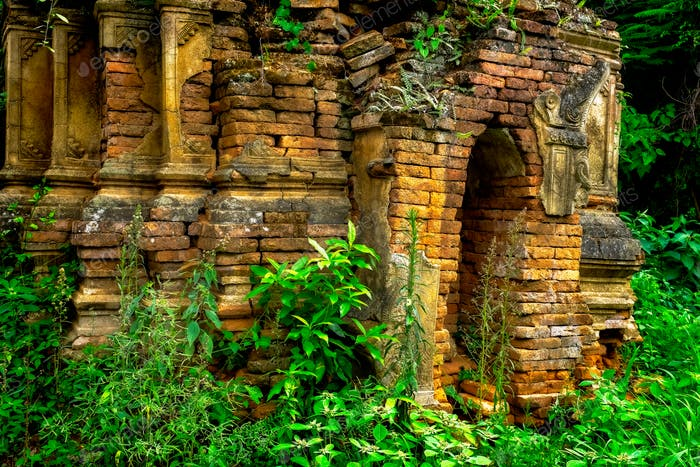 Ruins of old buddhist temple in the forest, Myanmar