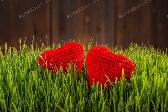 Two knitted hearts