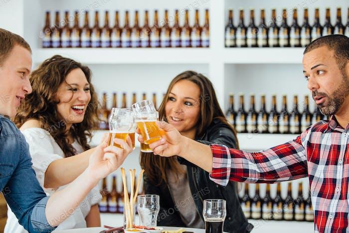 Cheerful company toasting