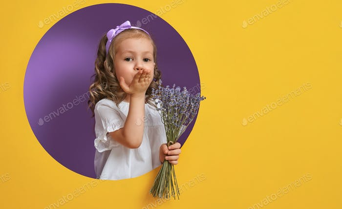 girl with a bouquet of lavender