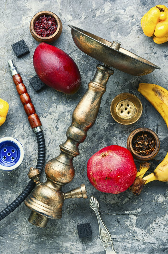 Tobacco shisha on fruit