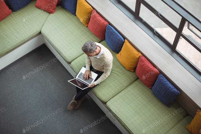 Overhead view of school teacher using laptop in library