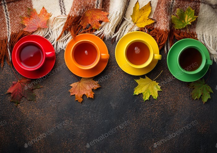 Colorful cups of tea, plaid and leaves