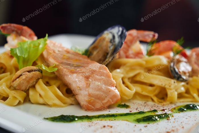 Pasta with seafood in resaurant